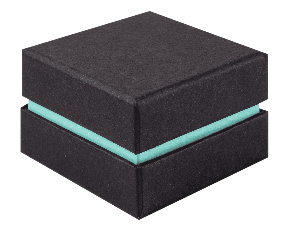 Ring Jewellery Box Black & Turquoise