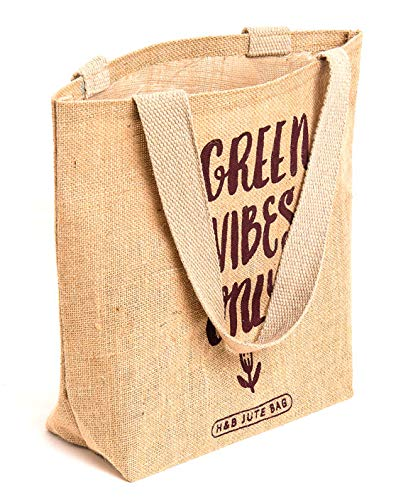 Natural Jute Tote Bag Green Vibes 2