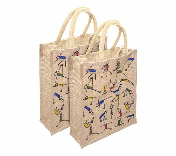Mist Yoga Print Jute Shopping Bag 1