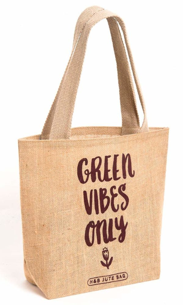 Natural Jute Tote Bag Green Vibes 1