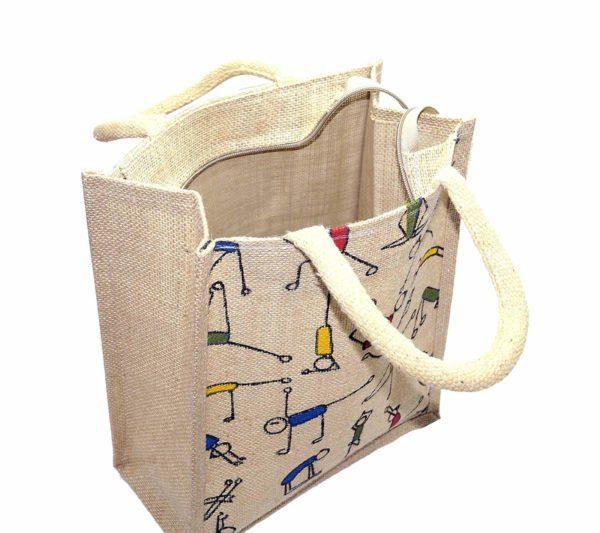 Mist Yoga Print Jute Shopping Bag 4