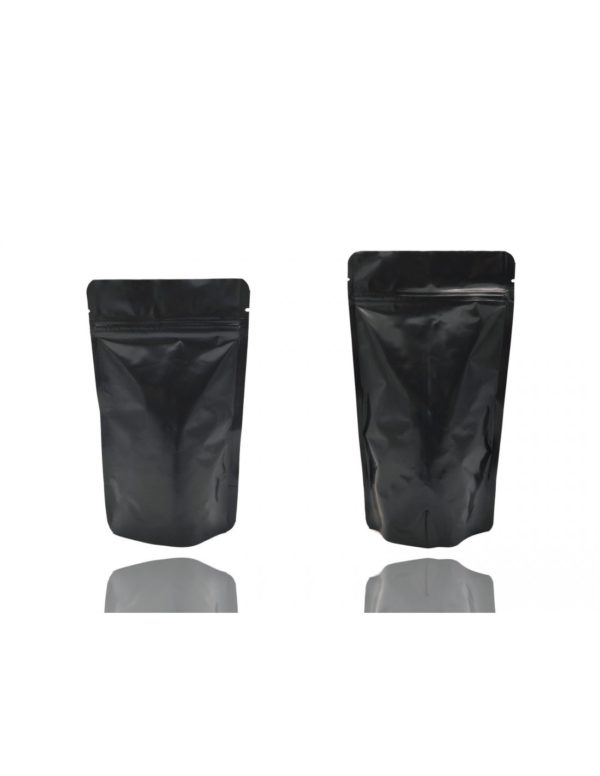 Black Aluminium Foil Matt Stand Up Pouch with Zip Lock