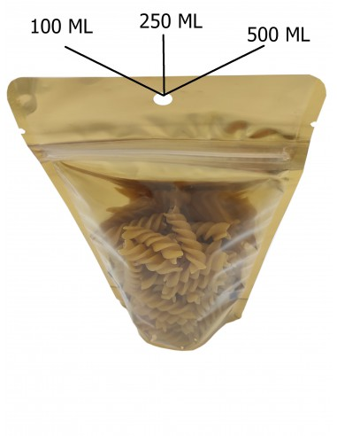 Gold One Side Transparent Stand Up Pouch with Zip Lock